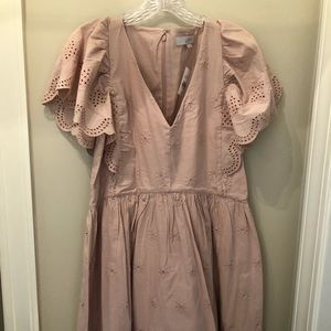 LOFT Dresses - LOFT Blush color, eyelet, flutter sleeve dress
